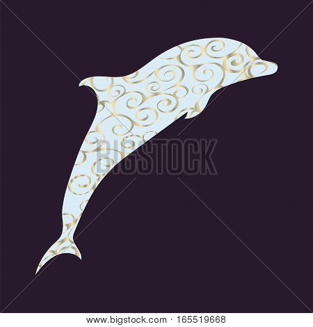 Dolphin sea animal ornament silhouette. Art vector illustration.