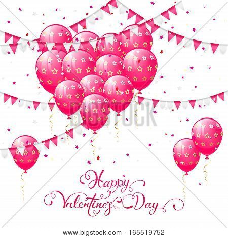 Valentines background with pink balloons in the form of heart, pennants and confetti, lettering Happy Valentines Day, illustration.