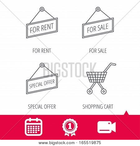 Achievement and video cam signs. Shopping cart, for rent and special offer icons. For sale linear sign. Calendar icon. Vector