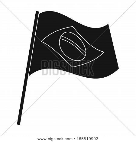 Flag of Brazil icon in black design isolated on white background. Brazil country symbol stock vector illustration.