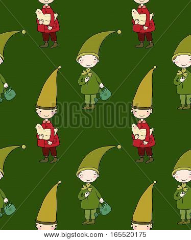 Seamless pattern with cute gnome and bird. Vector illustration for children design. Funny elves.