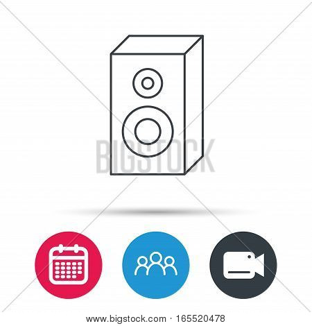 Sound icon. Musical speaker sign. Group of people, video cam and calendar icons. Vector