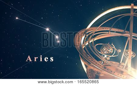 Zodiac Constellation Aries And Armillary Sphere Over Blue Background. 3D Illustration.