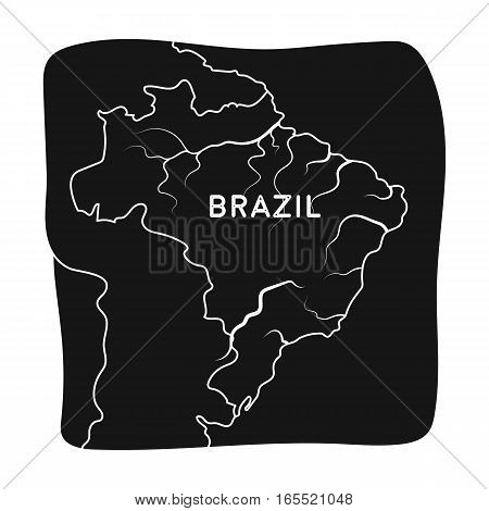 Territory of Brazil icon in black design isolated on white background. Brazil country symbol stock vector illustration.
