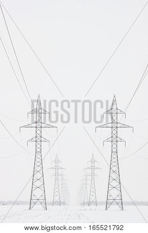 Two lines of transmission towers marching toward the horizon in a white winter scene vertical crop