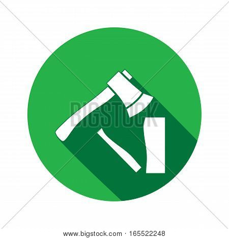 Tool icon. Axe, hache instrument. Work, job, labour, toil, repair, fix, building symbol. White sign on round button with long shadow. Vector isolated