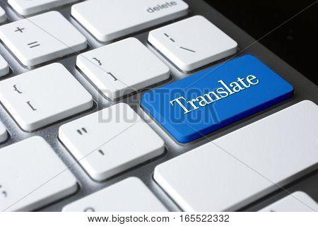 Translate  word on blue color enter keyboard