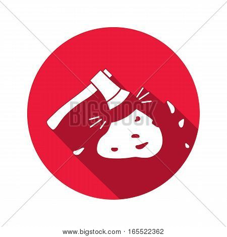 Axe, hache tool icon. Instrument, working, unskilled, toil, unable, useless method symbol. White sign on round button with long shadow. Vector