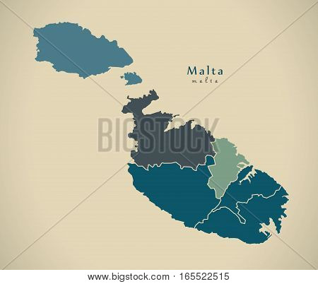Modern Map - Malta With Districts Mt Illustration