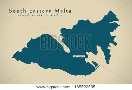 Modern Map - Eastern Malta Mt Illustration