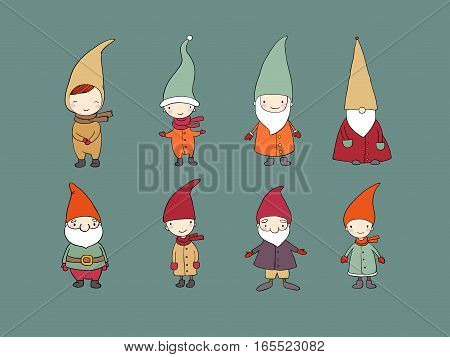 Set of cute cartoon gnomes. Funny elves. Vector illustration.