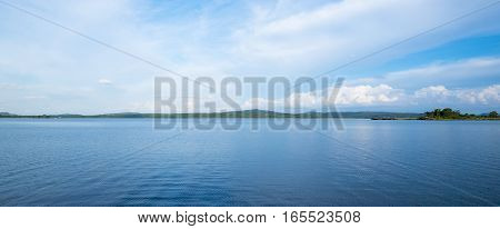 Panorama Blue Lake With Clear Sky And Green Mountain