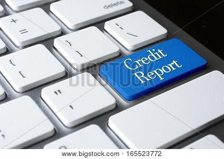 Credit report on word blue enter computer keyboard