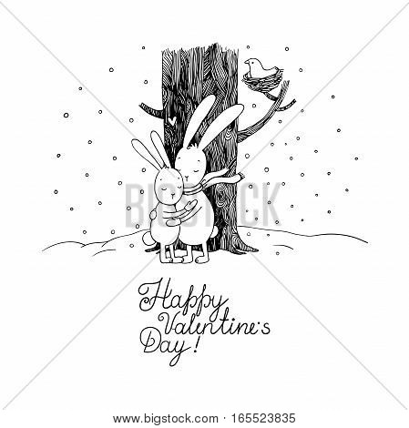 Cute cartoon hares. Winter. Hand drawing isolated objects on white background. Vector illustration. Text Happy Valentine s Day