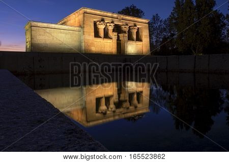 Temple of Debod illuminated at night in Madrid Spain