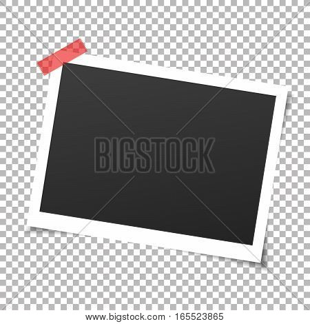 Photo frame with adhesive tapes. Vector illustration with transparent shadow.