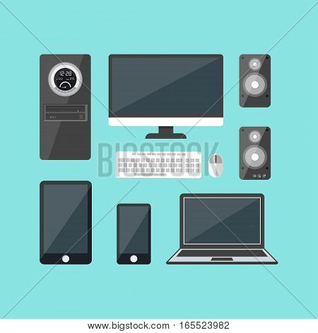 Cartoon Electronic Devices Set Modern Flat Design Style Communication Equipment for Business and Home. Vector illustration