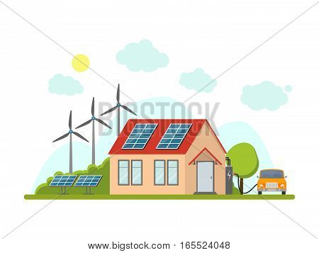 Cartoon Eco Energy Home Exterior Facade Renewable Resources Of Nature Flat Design Style. Vector illustration
