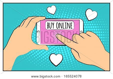 Comic phone with halftone shadows. Hand holding smartphone with buy online internet shopping. Pop art retro style. Flat design. Vector illustration eps 10.