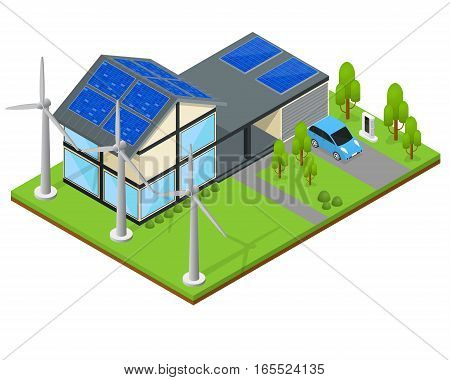 Green Eco Modern House with Wind Generator and Solar Panels Isometric View Renewable Resources Of Nature. Vector illustration