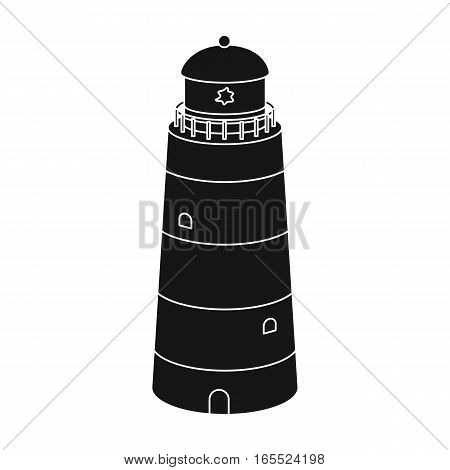 Lighthouse icon in black design isolated on white background. Rest and travel symbol stock vector illustration.