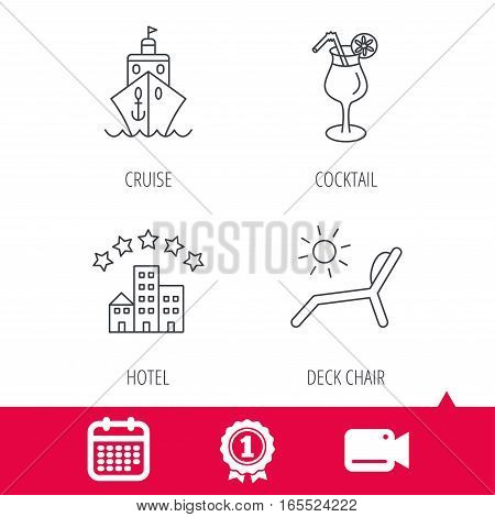 Achievement and video cam signs. Cruise, waves and cocktail icons. Hotel, deck chair linear signs. Calendar icon. Vector