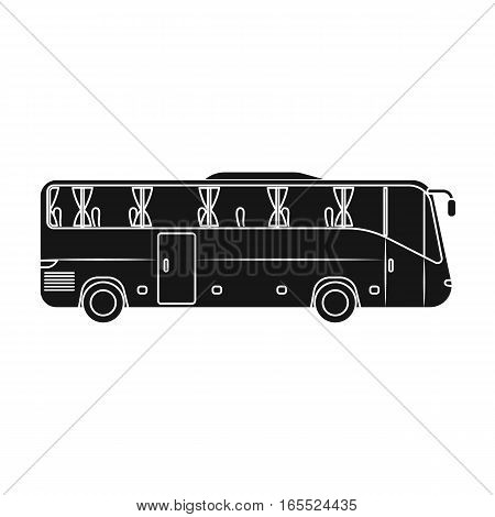 Green tour bus icon in black design isolated on white background. Rest and travel symbol stock vector illustration.
