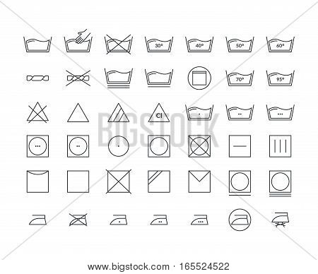 Laundry Icon Thin Line Set Care Cloth Symbols Pixel Perfect Art. Material Design for Web and App. Vector illustration