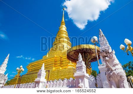 Phra That Chae Haeng Temple is a favourite destination in Nan province Northern of Thailand