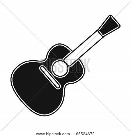 Acoustic guitar icon in black design isolated on white background. Picnic symbol stock vector illustration.