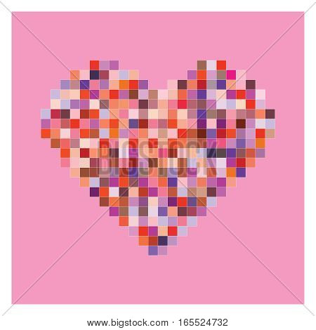 Colorful pixel heart shape in pink background. Valentine background.