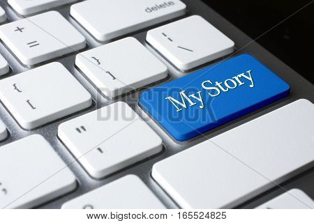 My Story word on blue enter computer keyboard