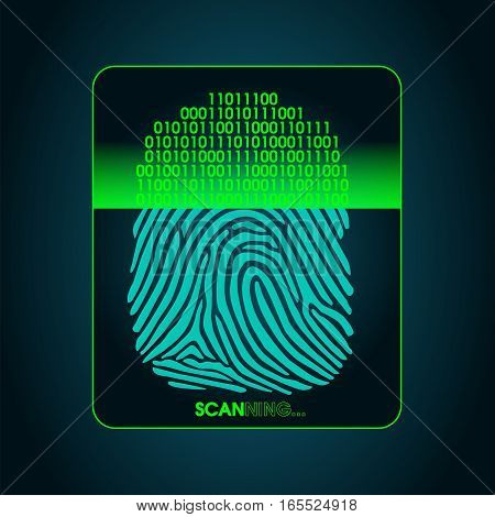 fingerprint scanning - digital biometric security system, access, data protection