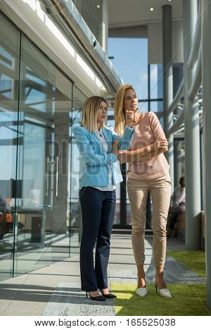 Two businesswomen talking in the enterprise out of meeting and looking trough the window.