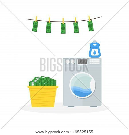 Cartoon Money Laundering in Washer Concept Dirty Currency Banknotes Flat Design Style. Vector illustration