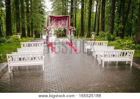 Visiting registration in nature. Wedding decor nature