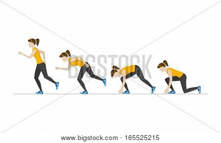 Running Woman Step by Step Positions Set. Health Care Concept. Flat Design Style Vector illustration