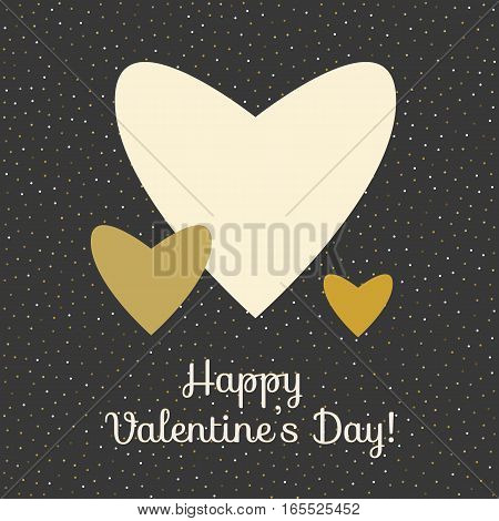 Three vector hearts in gold colors on black background. Happy valentines day card template
