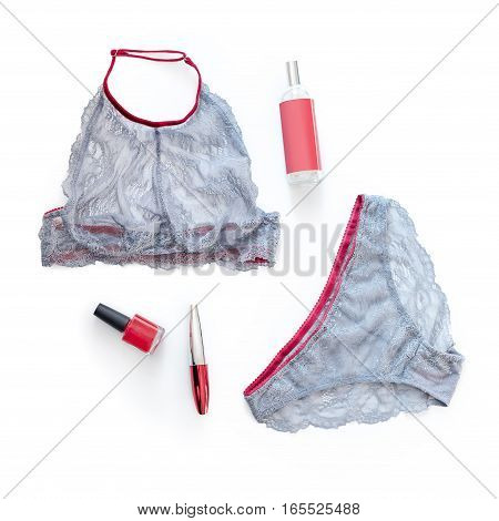 Shopping and fashion concept. Set of glamorous stylish sexy lace lingerie with woman accessories on white background