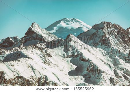 Mountain top in the mountains of Dombai, Caucasus. view to the Elbrus