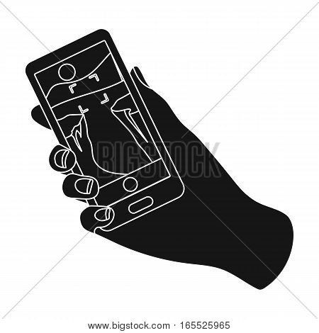 Taking photo on smart phone icon in black design isolated on white background. Hipster style symbol stock vector illustration.
