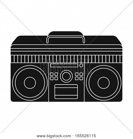 Boombox icon in black design isolated on white background. Hipster style symbol stock vector illustration.