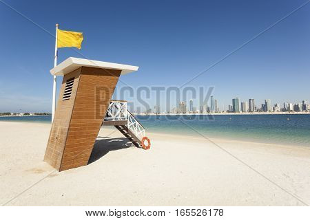 Lifeguard station at the Al Mamzar beach in Dubai. United Arab Emirates Middle East