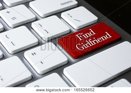 Find Girlfriend on red color enter keyboard