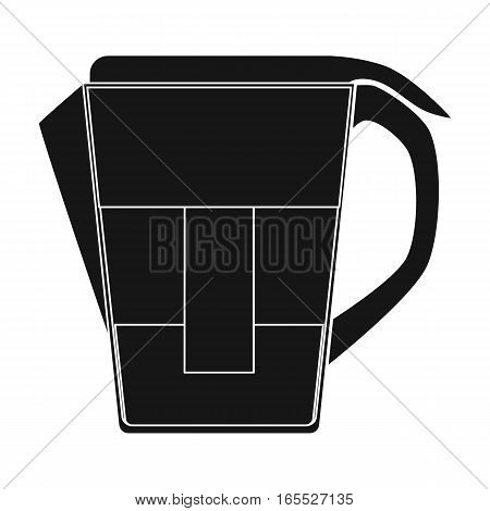 Water jug with filter cartridge icon in black design isolated on white background. Water filtration system symbol stock vector illustration.