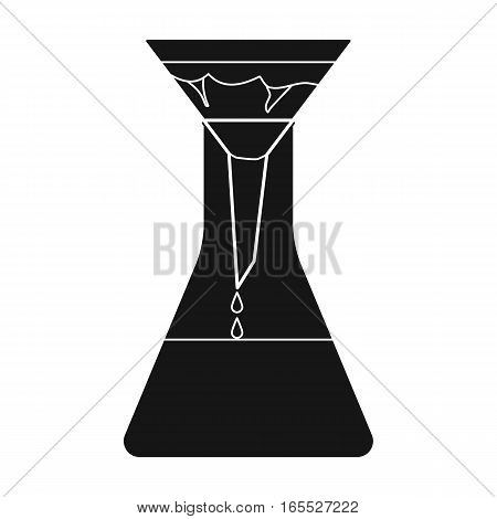 Filtration of water solution in a conical flask icon in black design isolated on white background. Water filtration system symbol stock vector illustration.