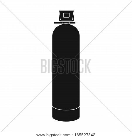 Water filter machine icon in black design isolated on white background. Water filtration system symbol stock vector illustration.