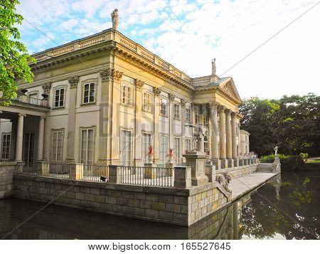Warsaw Poland - June 28 2016: Lazienki Palace is located in Warsaw's Lazienki Park Poland.