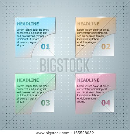 Infographic Template. Vector Glassy Square