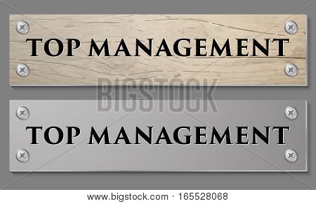 Abstract background with wooden pattern and glass panel with the words top management